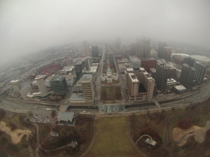 St Louis, Mo. in clouds
